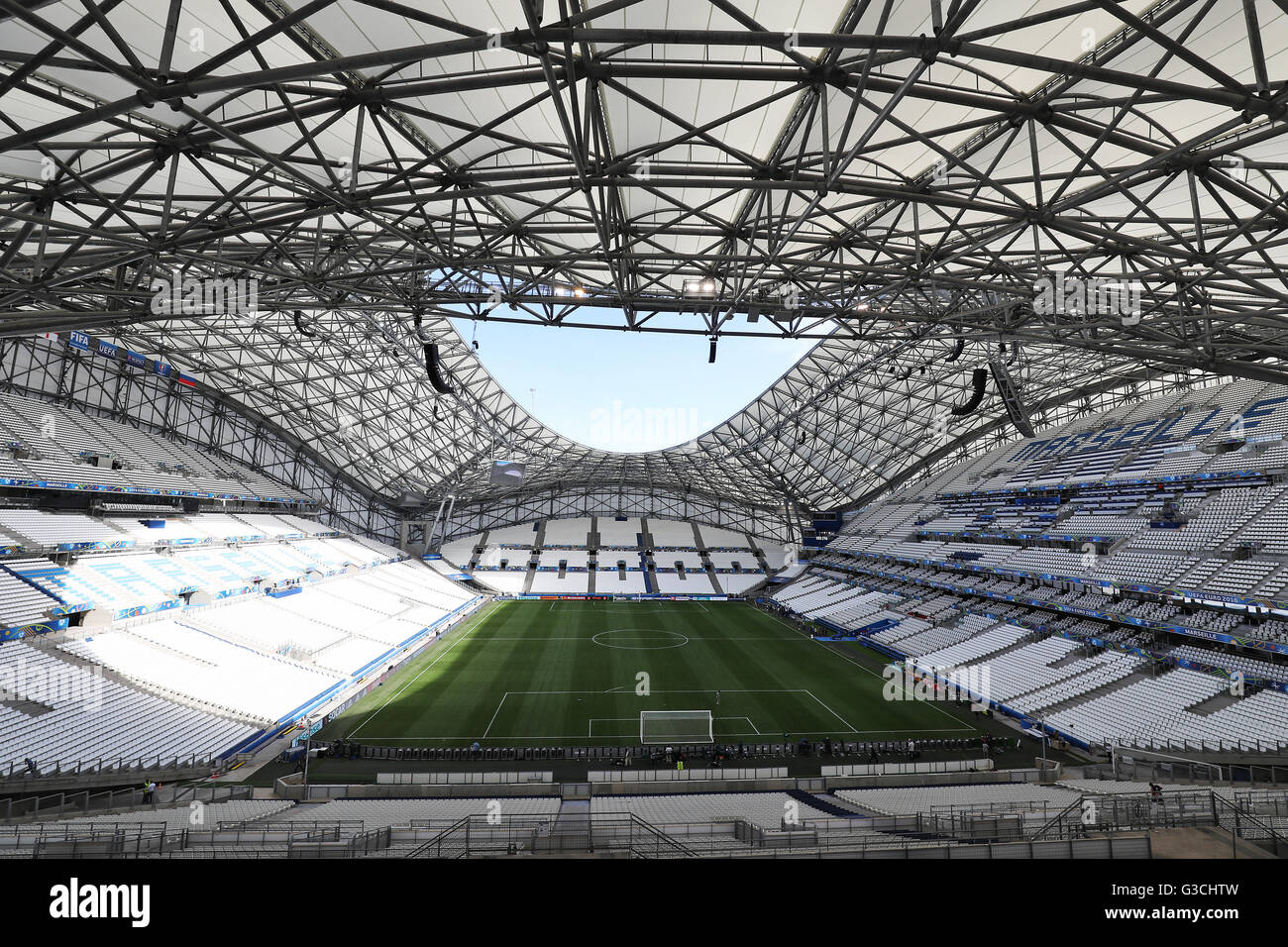 A view of the pitch at the Stade Velodrome, Marseille. - Stock Image