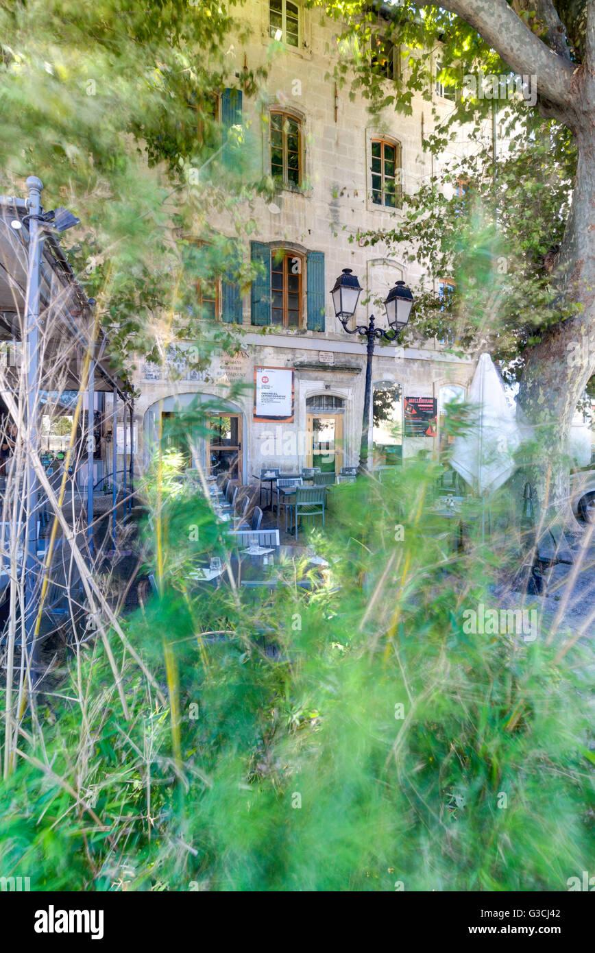 Restaurant, terrace, Librairie Actes Sud, Arles, Bouches-du-Rhone, Provence-Alpes-Cote d'Azur, Southern France, Stock Photo