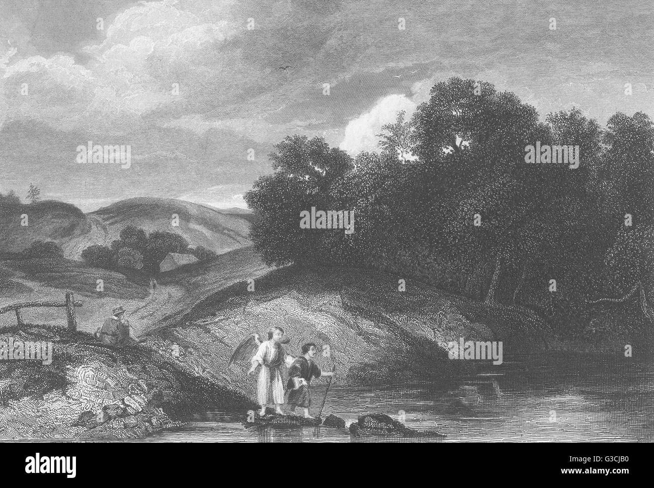 LANDSCAPE WITH TOBIT AND THE ANGEL: Rembrandt, antique print 1835 - Stock Image