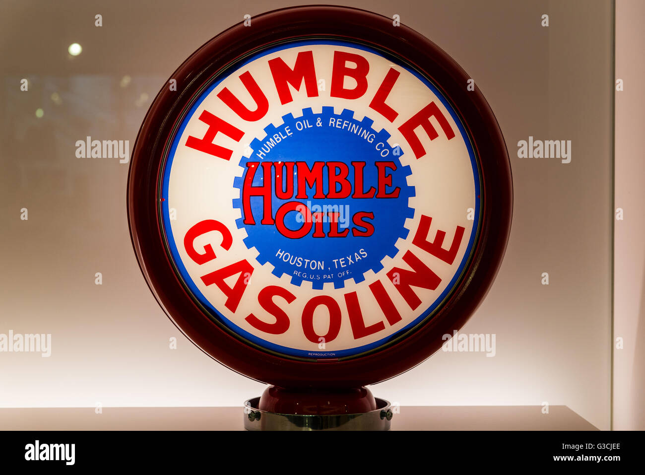 Glass globe for vintage Humble Gasoline pump in display. - Stock Image