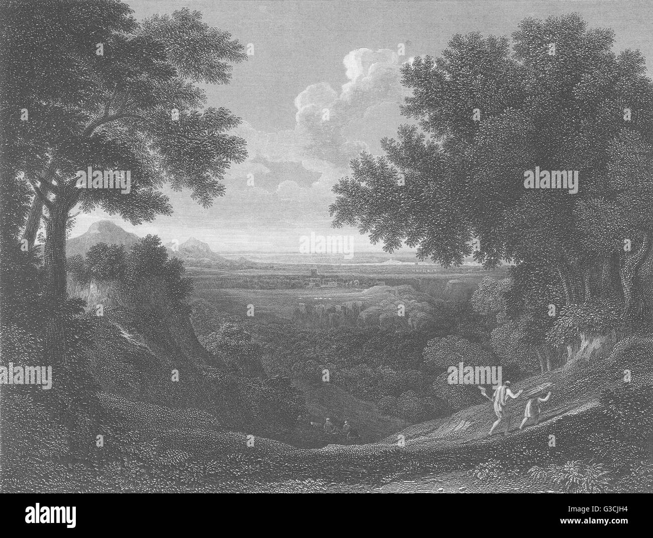 LANDSCAPE, WITH ABRAHAM AND ISAAC: Gaspar Poussin, antique print 1835 - Stock Image