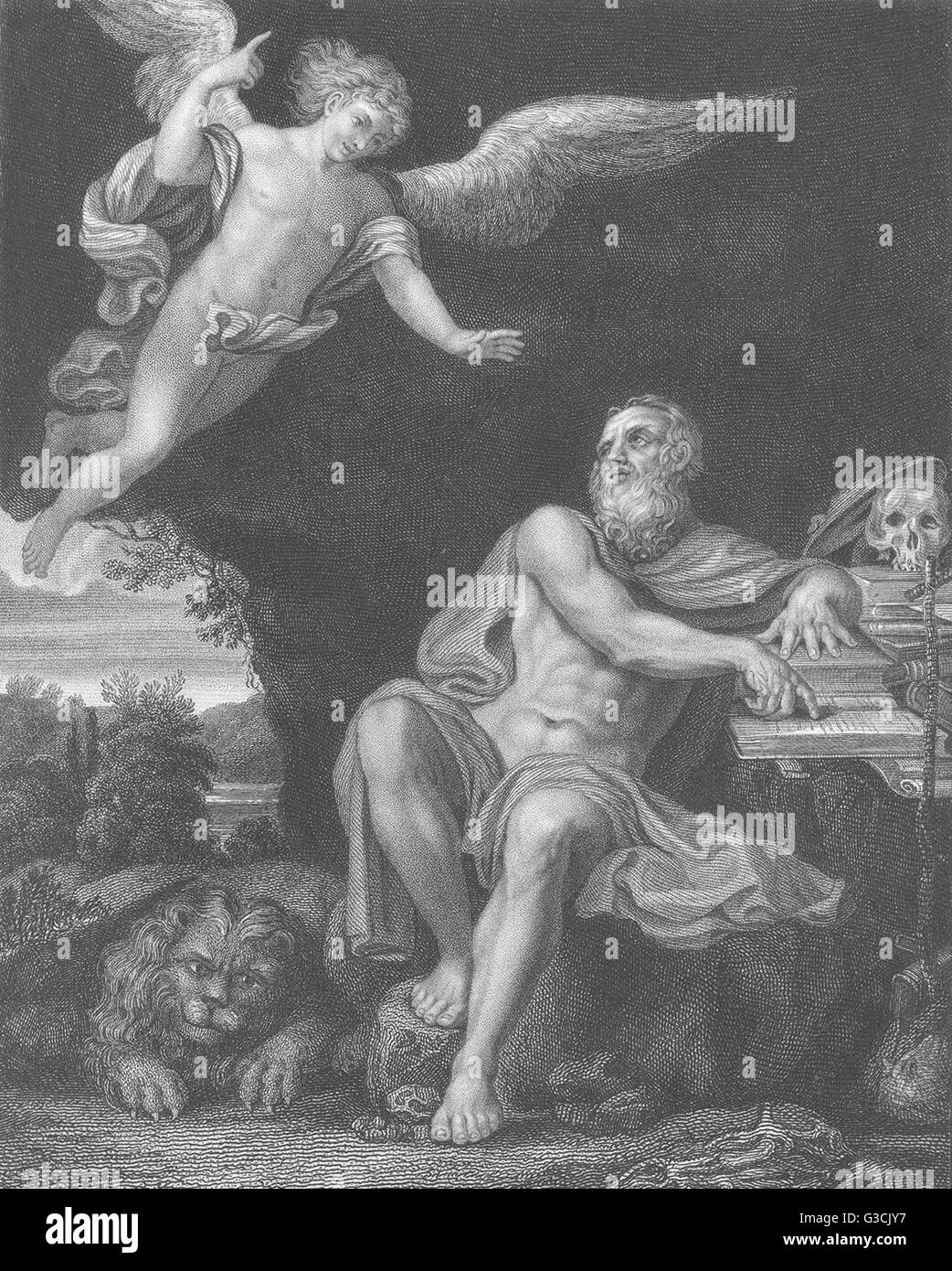 ST JEROME WITH THE ANGEL: Domenichino, antique print 1835 - Stock Image