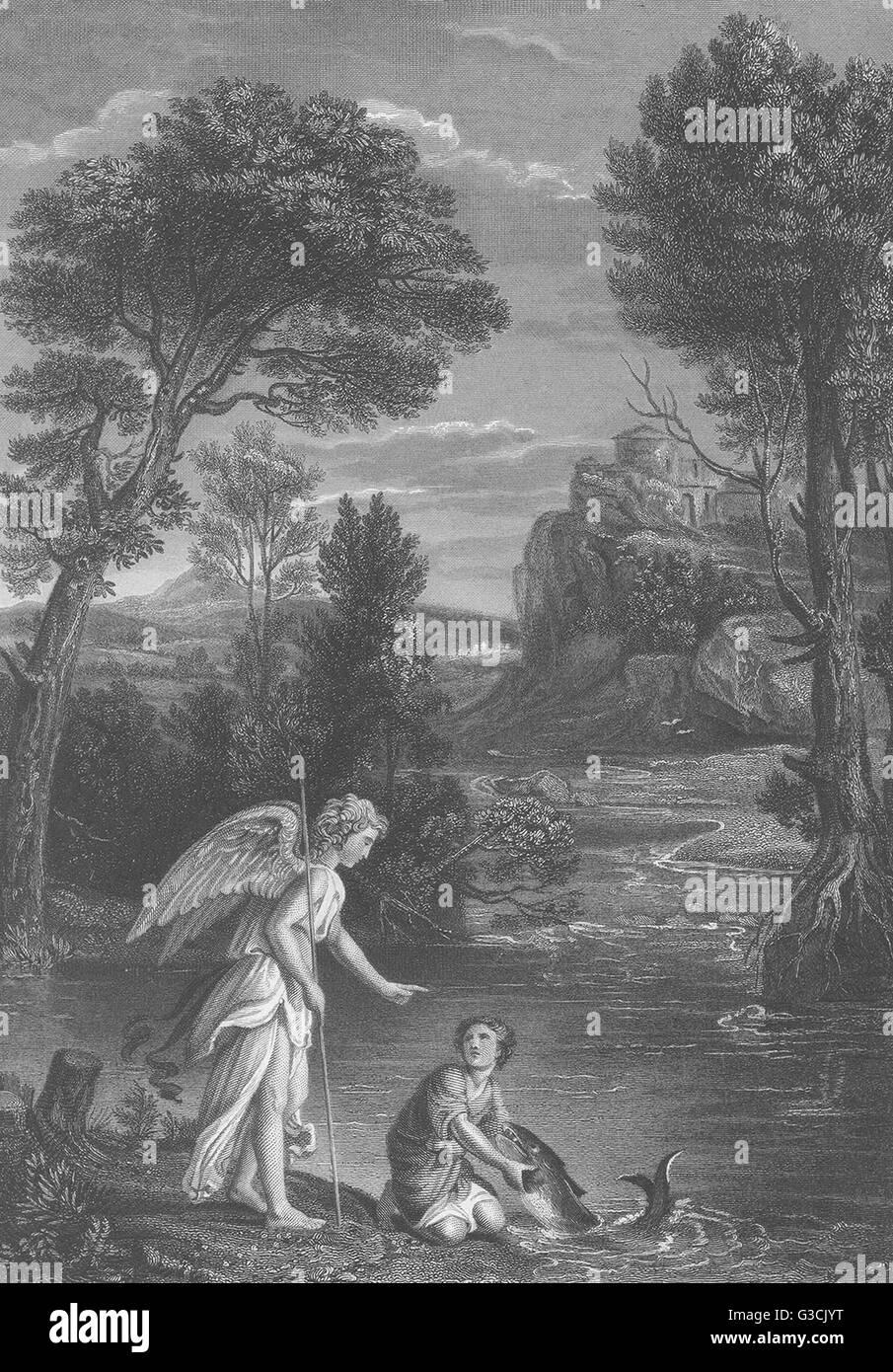 TOBIT AND THE ANGEL: Domenichino, antique print 1835 - Stock Image