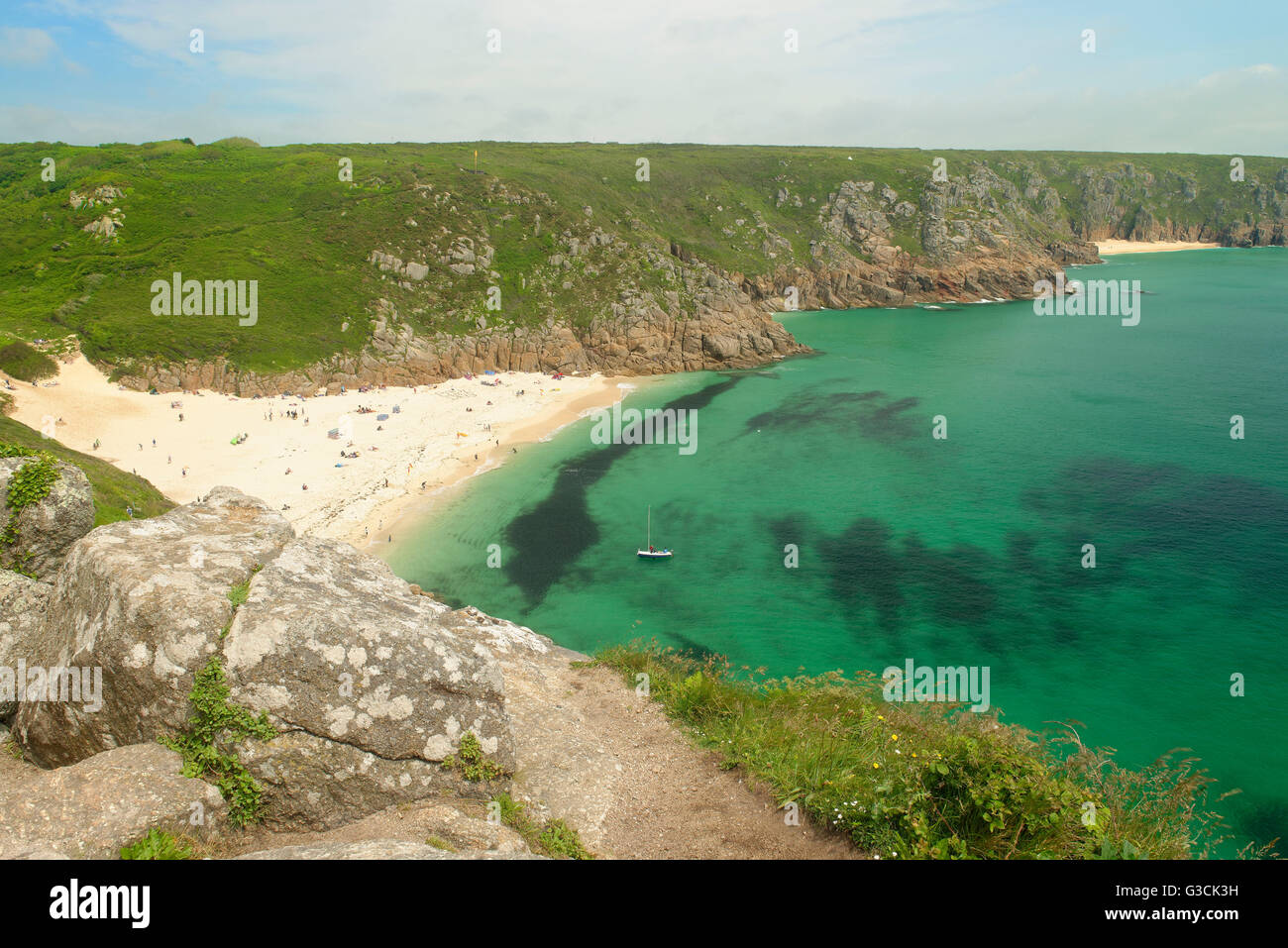 Cornwall, Southern England, Great Britain, fog and coastal landscape on the South-West-Path between Porthcurno and - Stock Image