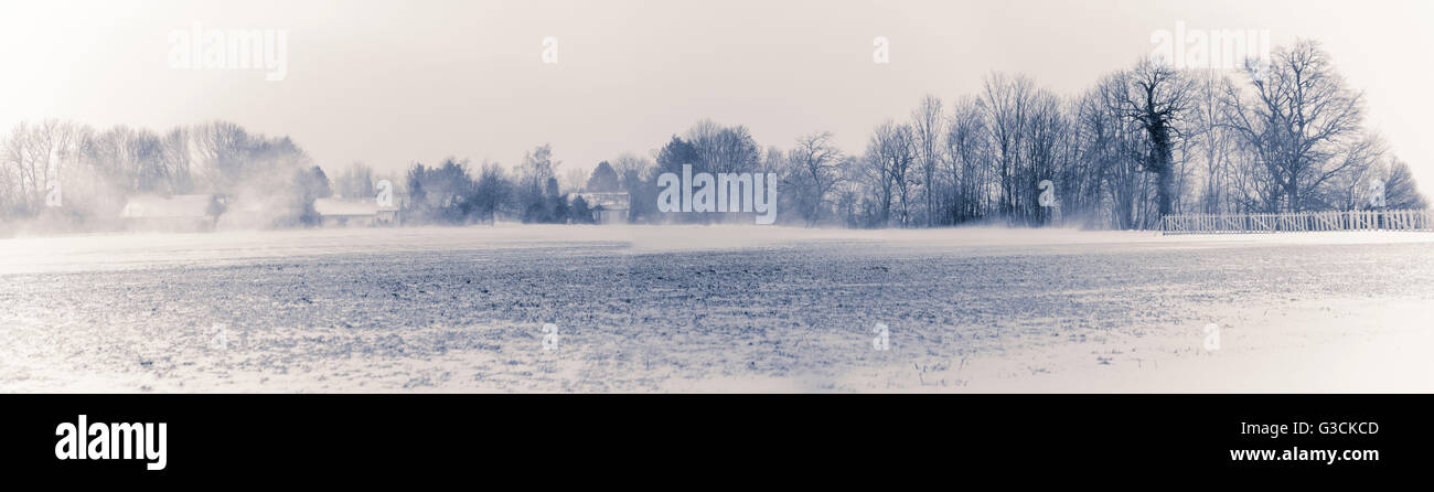 Snowfall in the country, white collection, winter, Germany, Bavaria, - Stock Image