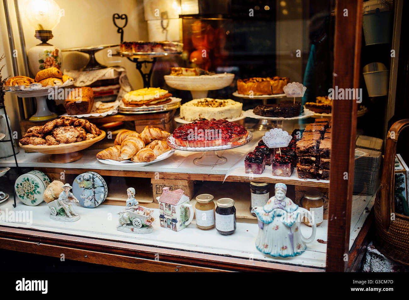 Cakes and pastries in an Amsterdam Showcase, - Stock Image