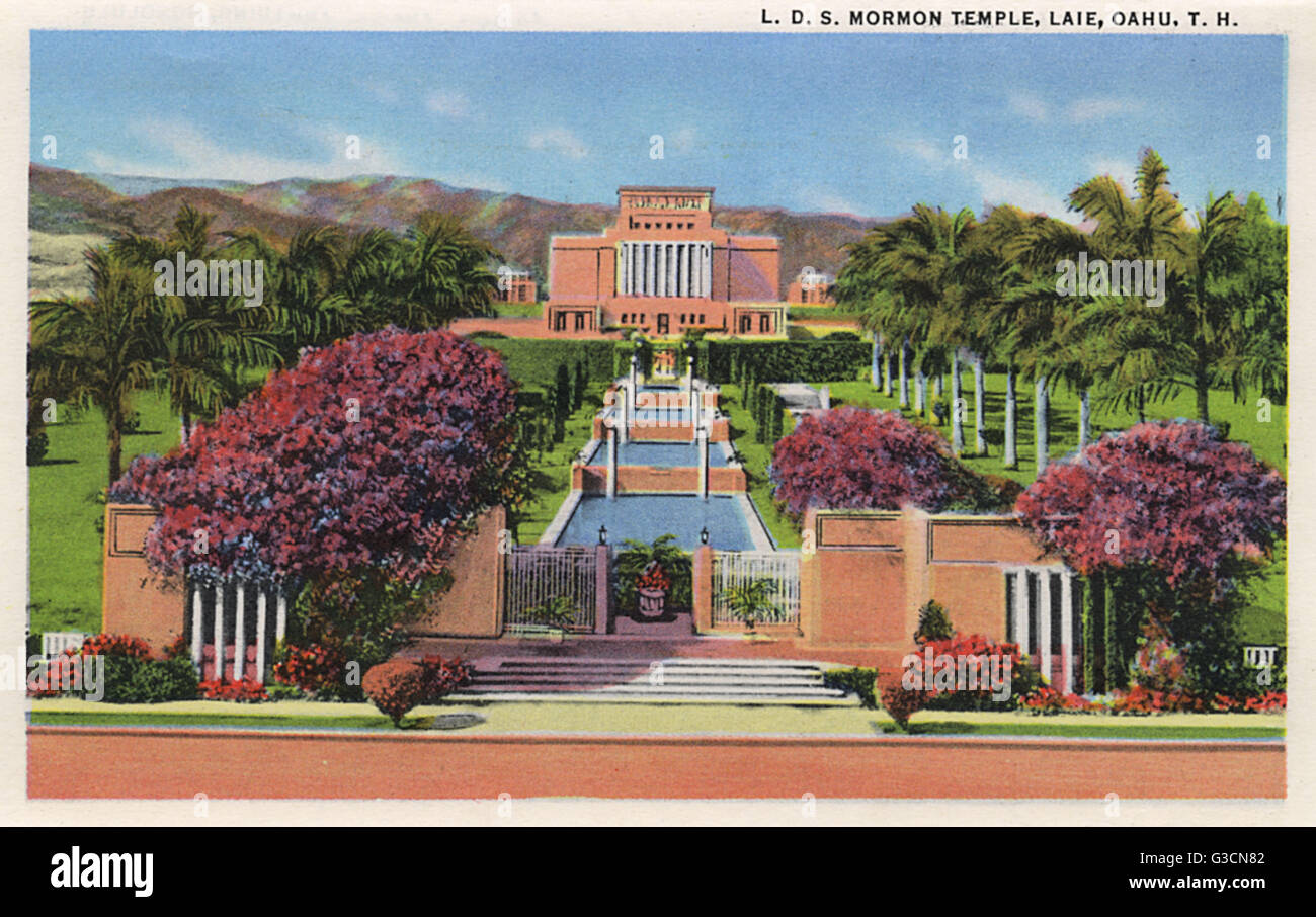 Mormon Temple (Church of Latter Day Saints) at Laie, on the Island of Oahu, Hawaii, USA.      Date: 1935 - Stock Image