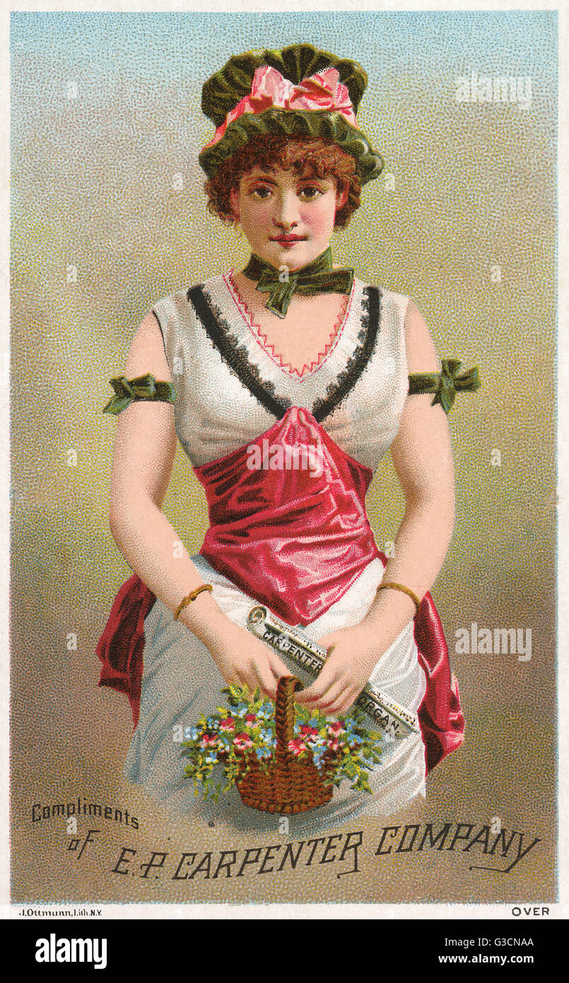 Advertisement for the E P Carpenter Organ Company, Brattleboro, Vermont, USA, showing a pretty young woman with - Stock Image