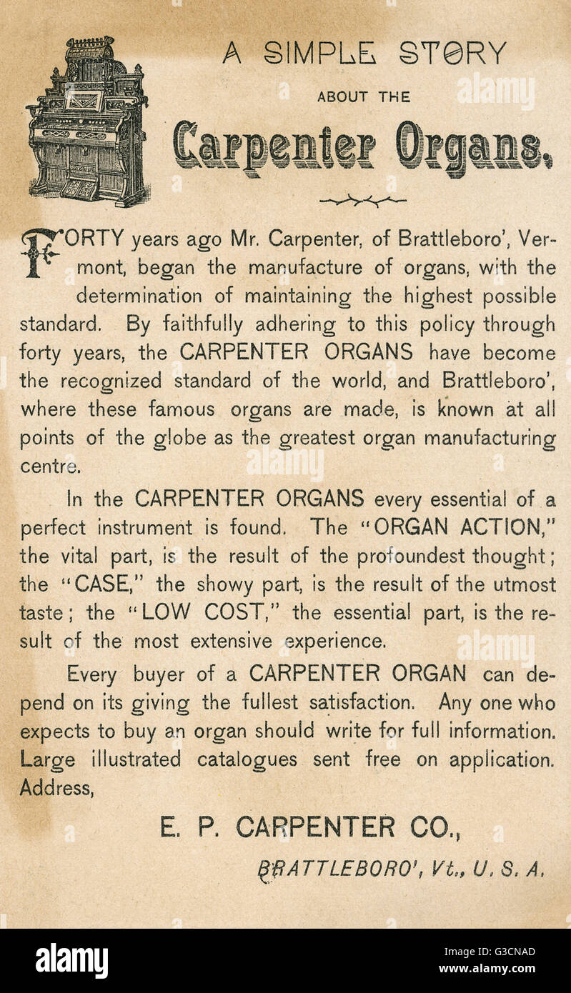 Advertisement for the E P Carpenter Organ Company, Brattleboro, Vermont, USA, telling the story of the company, - Stock Image