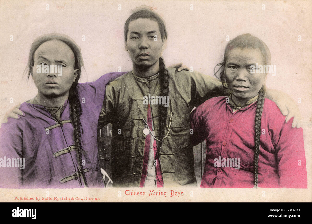 Three Chinese 'Mining Boys'. Between 1904 and 1910, over 63,000 contracted miners were brought in to work - Stock Image