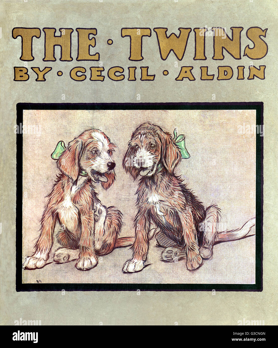 Book cover design, The Twins by Cecil Aldin, showing two cute terrier puppies with green bows.      Date: 1910 - Stock Image
