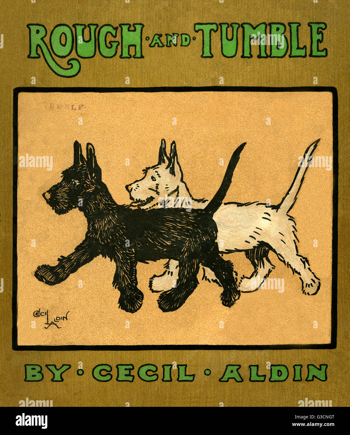 Book cover design by Cecil Aldin, Rough and Tumble, showing two Scots terriers, one white (Rough) and one black - Stock Image