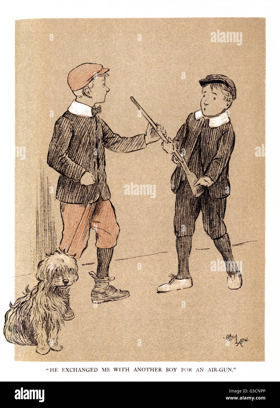 Illustration by Cecil Aldin, The Snob,  Fluffikins is given away to a boy after savaging the cat.  The boy in turn - Stock Image
