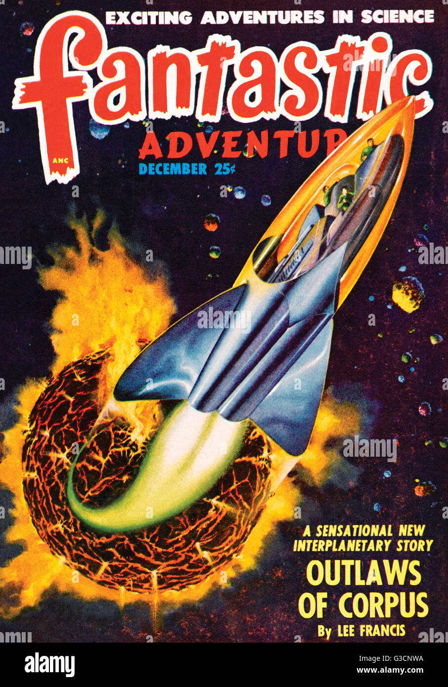 A Spaceship blasts away from a dying planet in this Science Fiction Magazine cover      Date: 1948 - Stock Image