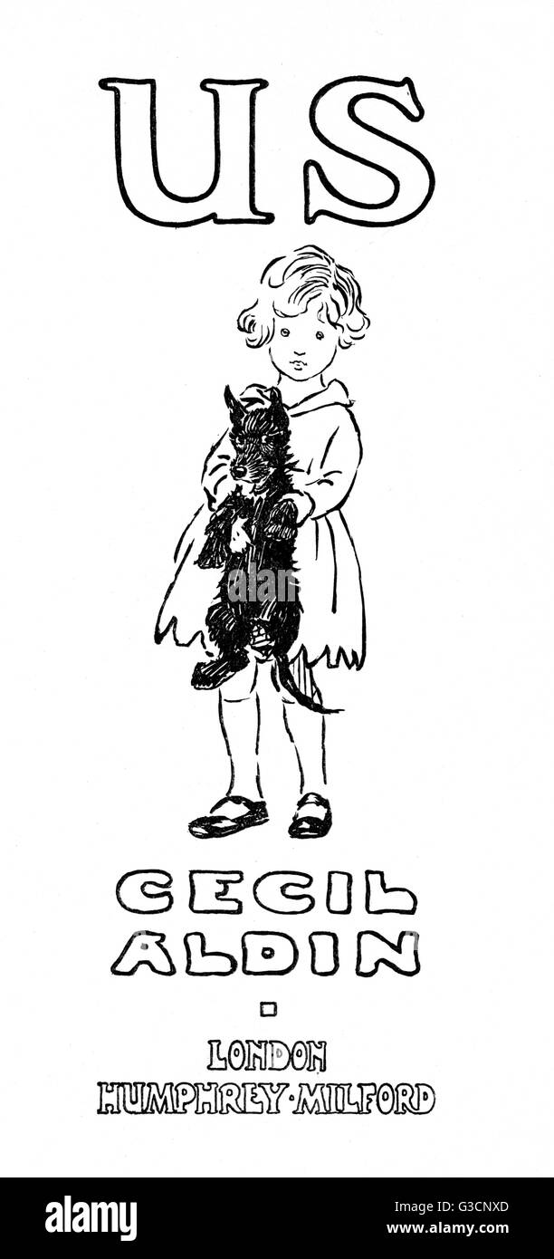 Title page design by Cecil Aldin, Us, showing Pat Leslie and her pet dog Smut, a Scots terrier.      Date: 1922 - Stock Image