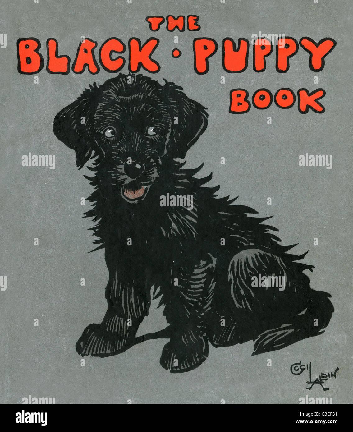 Cover design by Cecil Aldin, The Black Puppy Book.      Date: 1909 - Stock Image