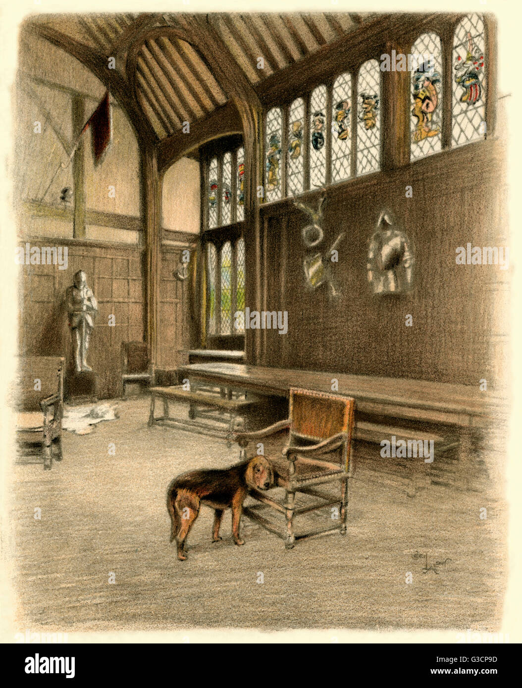 Illustration By Cecil Aldin, Old Manor Houses    Ockwells Manor House, A  15th Century Timber Framed Manor House Near Maidenhead, Berkshire.