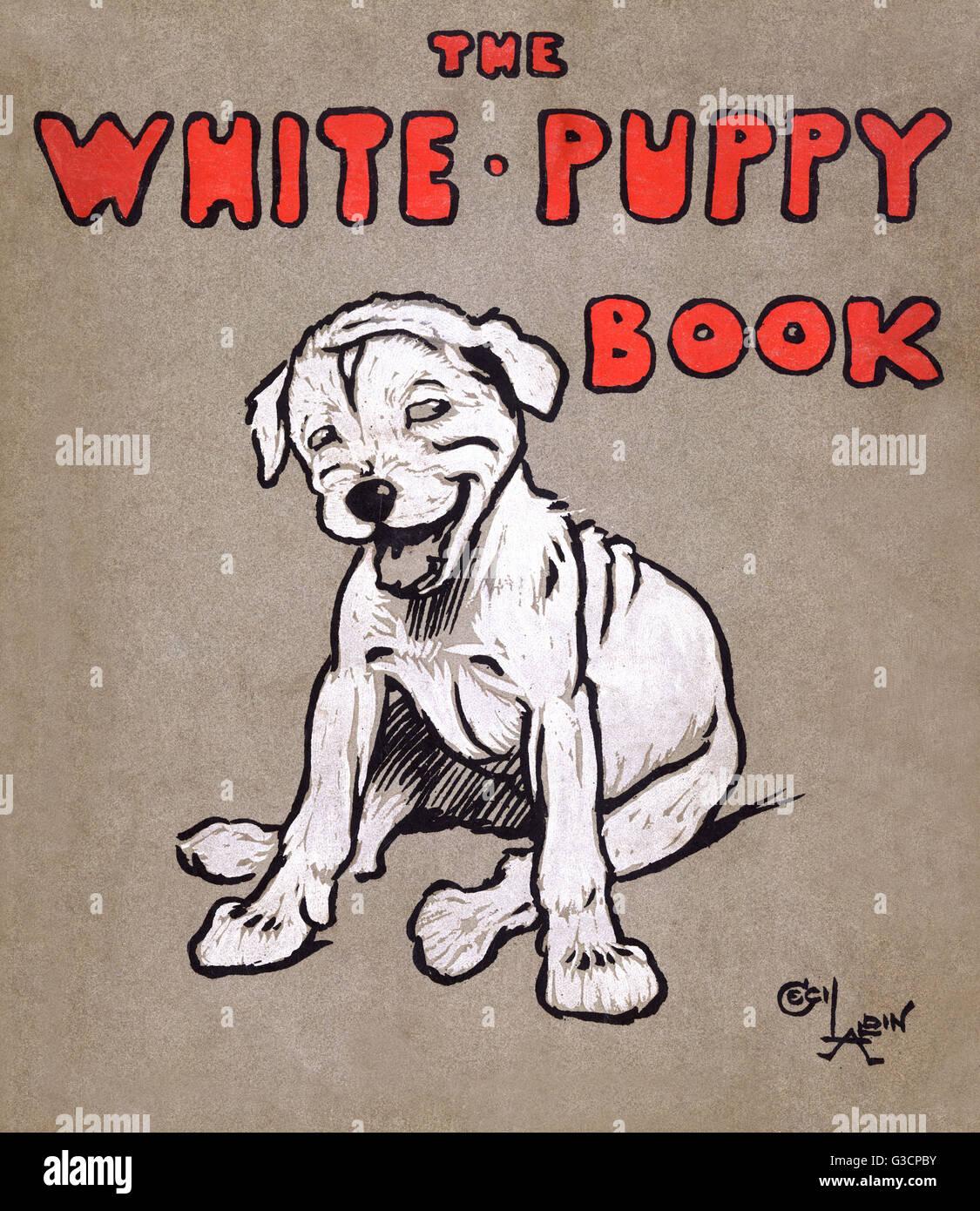 Cover design by Cecil Aldin, The White Puppy Book.      Date: 1909 - Stock Image