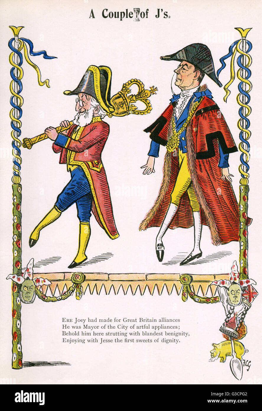 'A Couple of J's'. Serjeant-at-Arms Sir John Voce Moore (18261904), English businessman and Lord Mayor - Stock Image