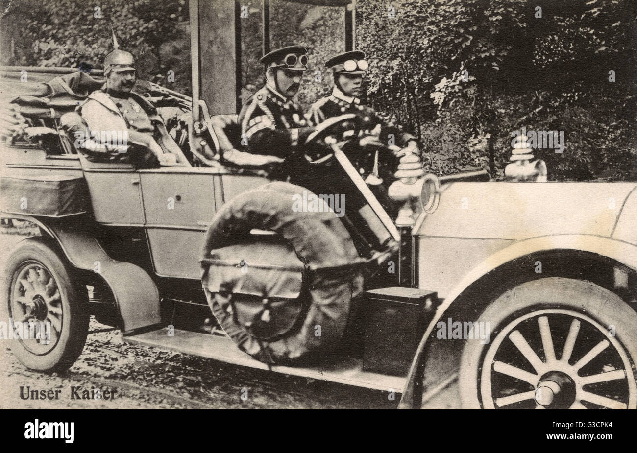 German Emperor Kaiser Wilhelm II - travelling by car (a very early Mercedes Simplex Phaeton).     Date: 1906 Stock Photo