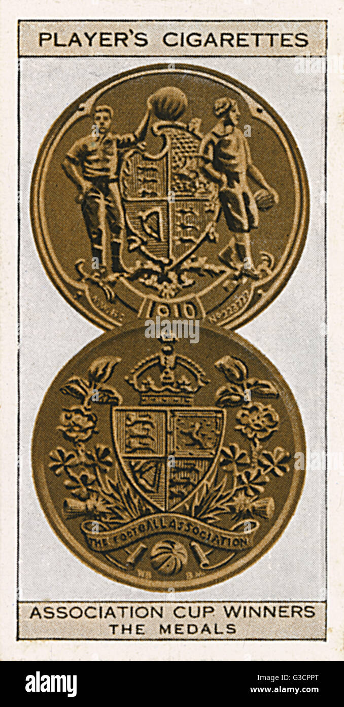 FA Cup medals. The obverse side of each is shown, the top being the winners, the lower the runners-up.     Date: - Stock Image