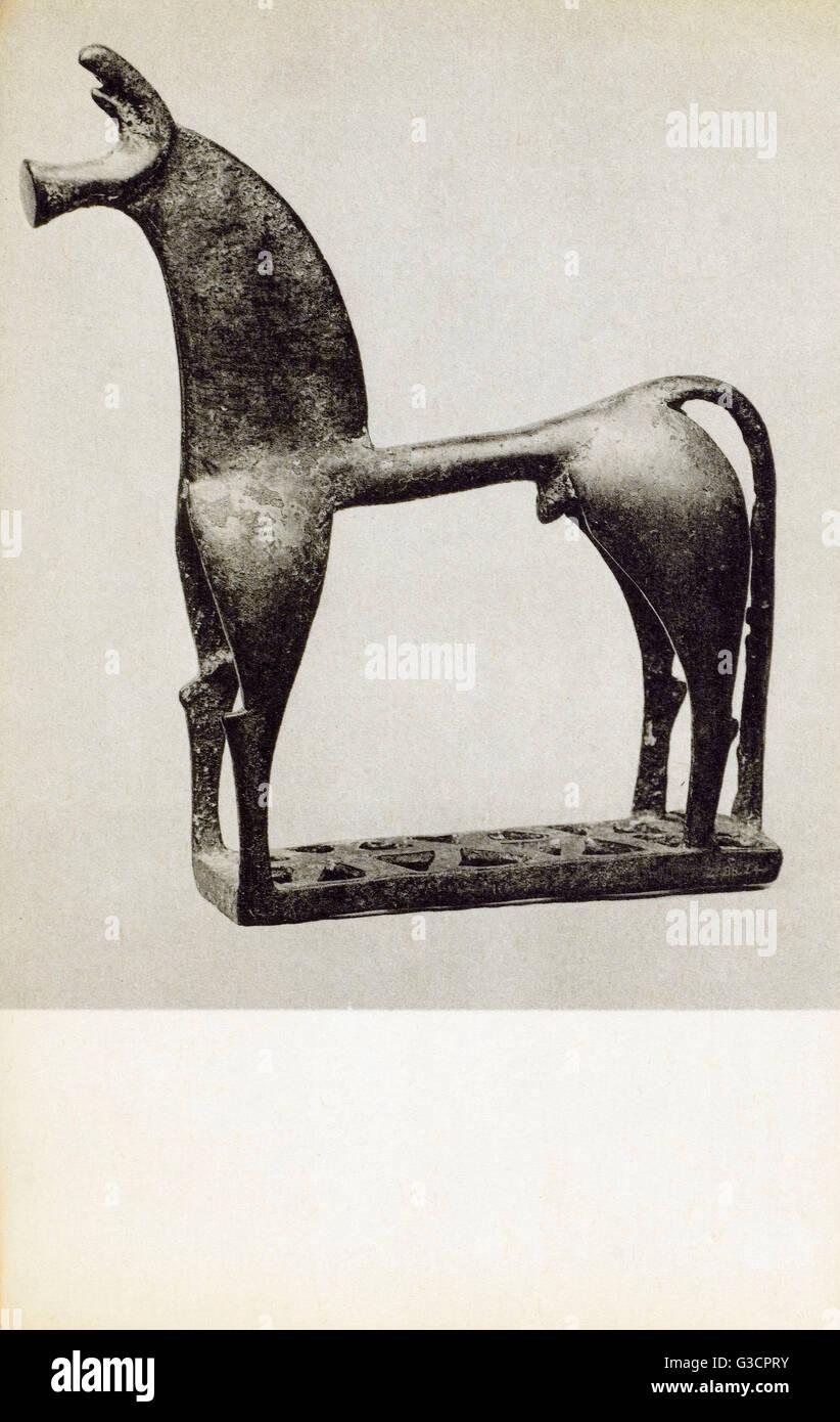 Bronze statuette of a Horse - Greek 8th century BC.     Date: circa 1930s - Stock Image