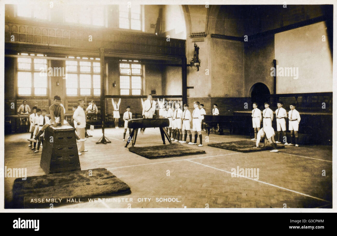 Assembly Hall - Westminster City School - Converted for a Gym Lesson. Located at 55 Palace Street, London SW1E 5HJ. - Stock Image