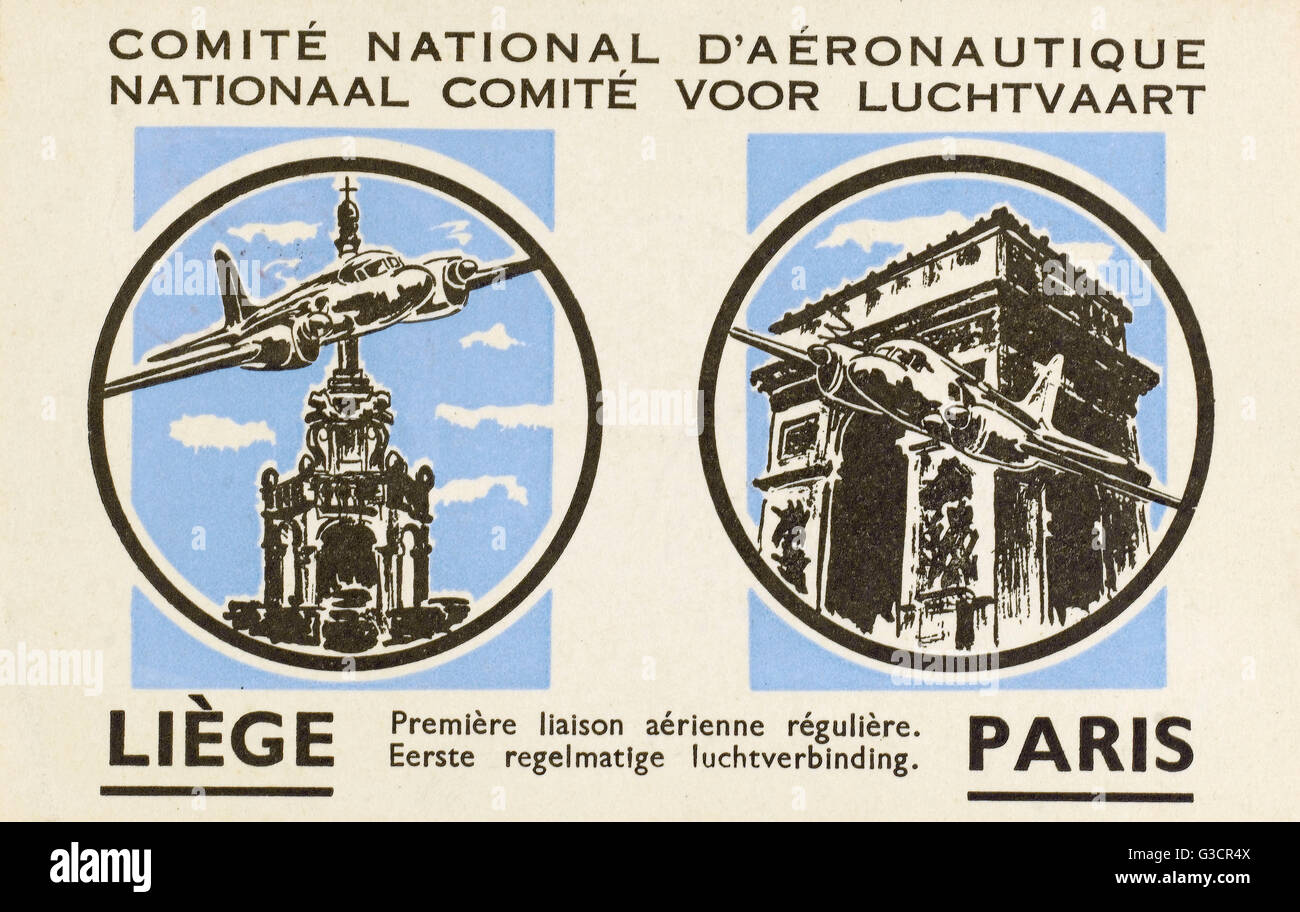First Flight between Liege, Belgium and Paris, France on Sabena Airlines.     Date: 1947 Stock Photo