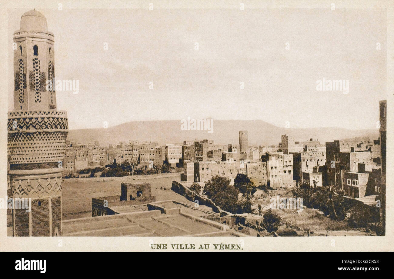 Townscape - Yemen - likely to be Sanaa     Date: circa 1908 - Stock Image