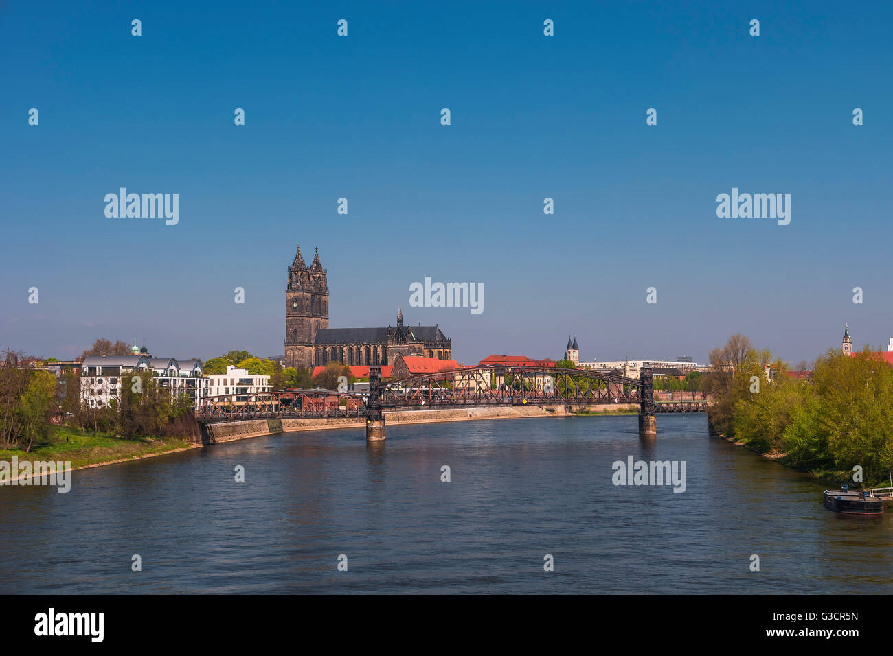 View on Magdeburg city and Elbe in Spring, Magdeburg, Germany, 2016 Stock Photo