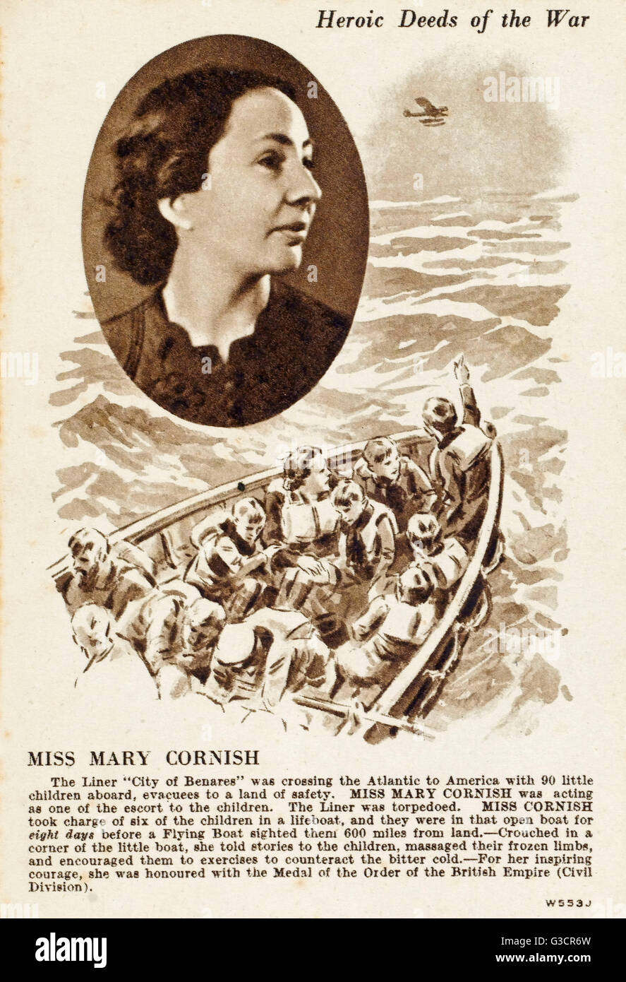Heroic Deeds of the War - Miss Mary Cornish. During the Second World War the City of Benares was used as an evacuee - Stock Image