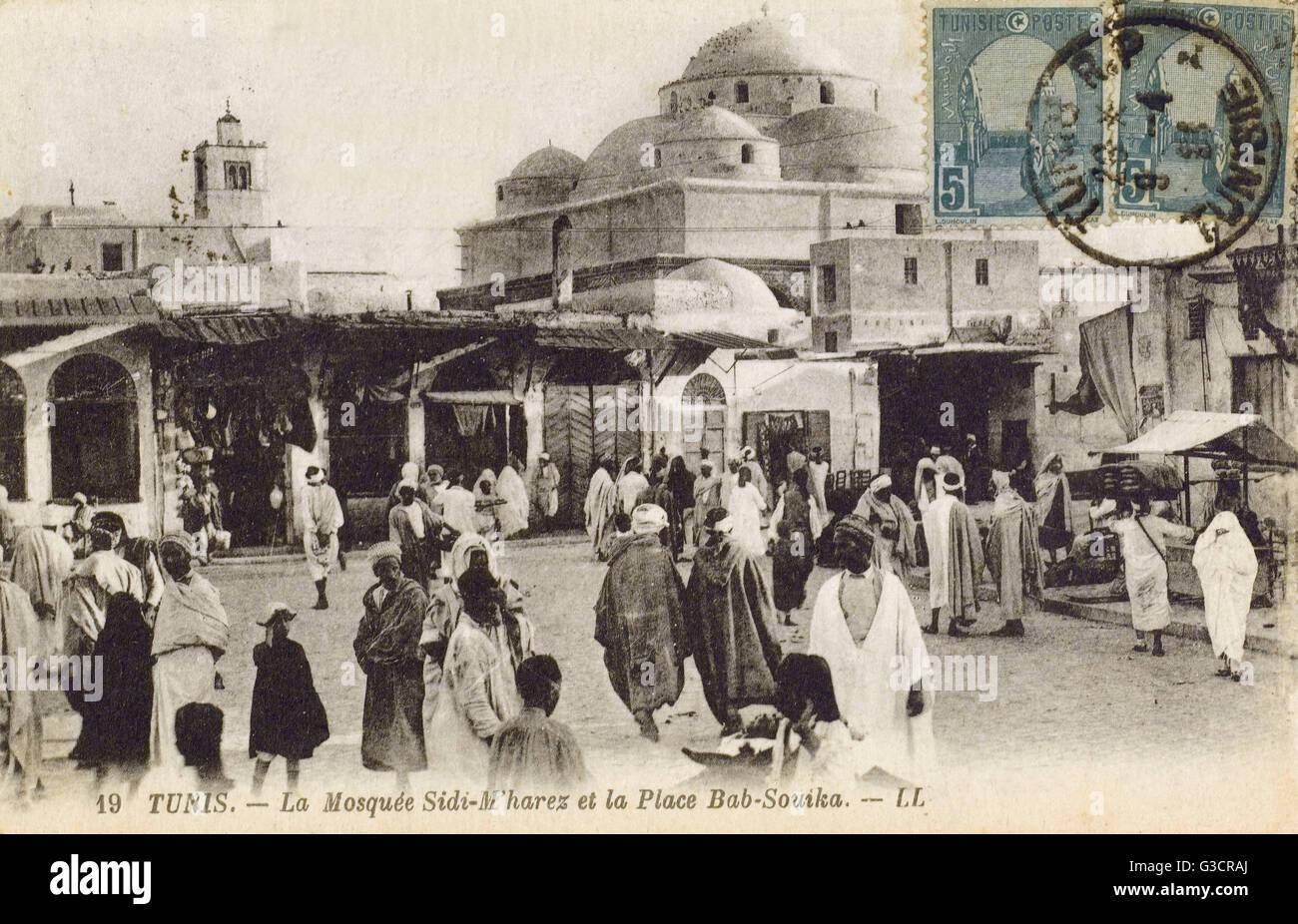 Tunisia - Tunis - Sidi Mehrez Mosque (1675-92), from Place Bab Souika     Date: circa 1910s - Stock Image