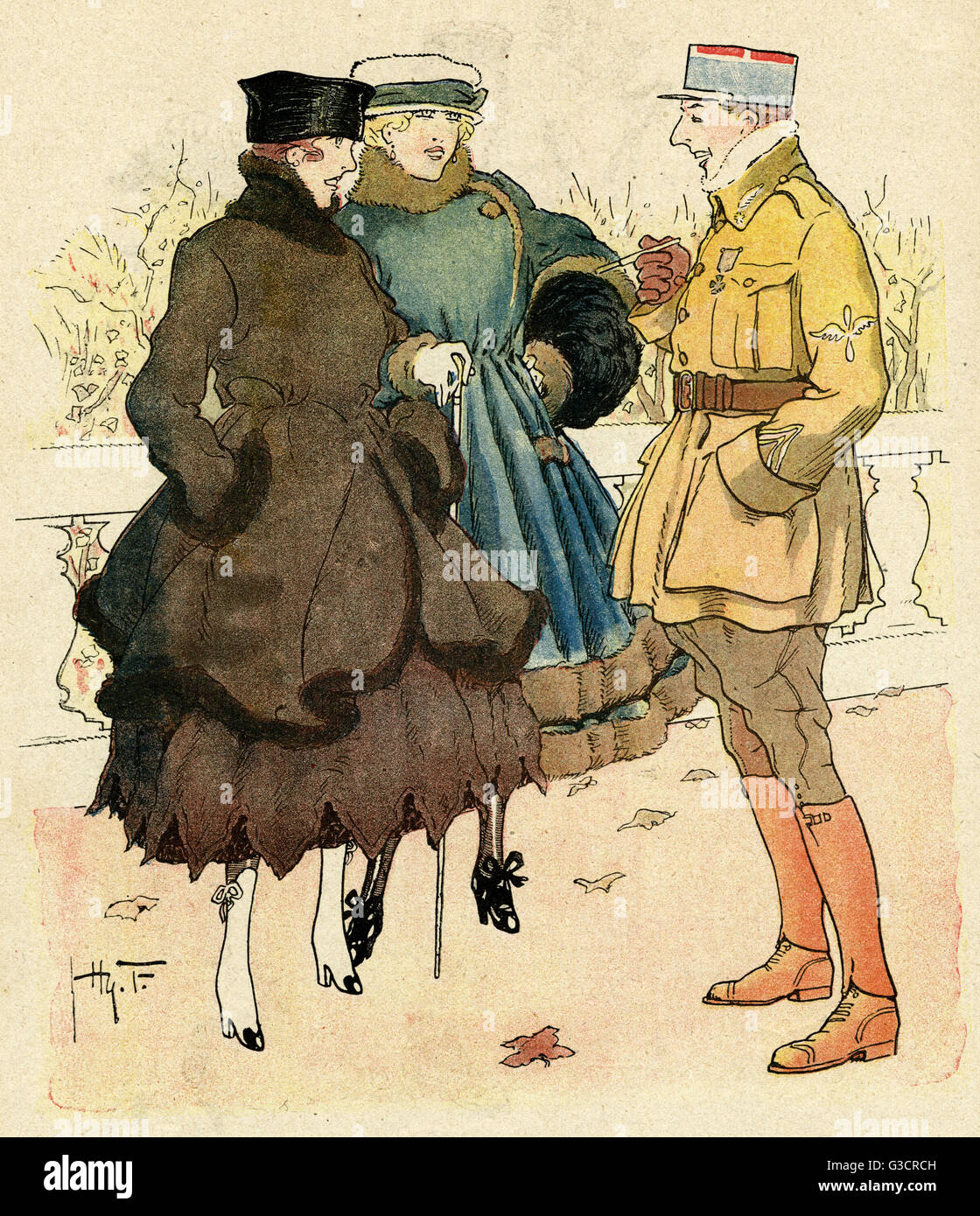Cartoon, Stoicism -- a French aviator impresses two fashionable women with his toughness during a bombardment.  - Stock Image