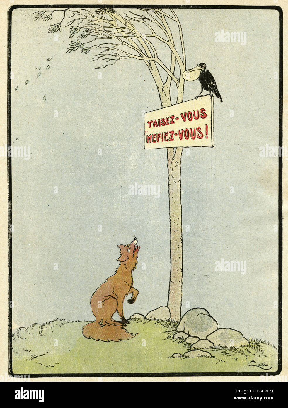 Cartoon, Keep your mouth shut -- a new take on a fable of Aesop during the First World War, where the fox will never - Stock Image