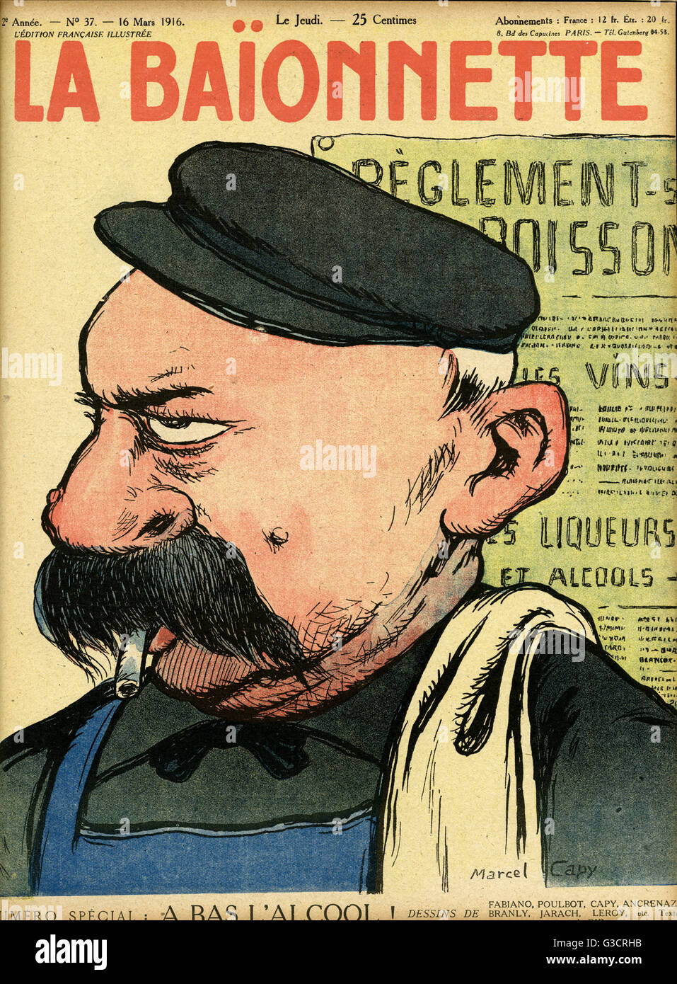 Front cover design for La Baionnette, an issue focusing on alcohol restrictions.  Depicting a rather disgruntled - Stock Image