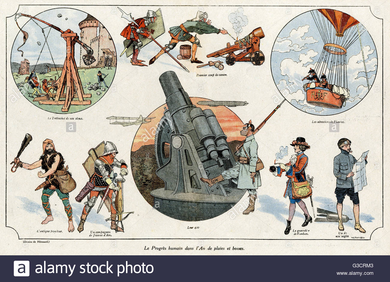Cartoon, Human progress in the year of cuts and bruises.  Showing various machines of war across the ages -- a catapult, - Stock Image