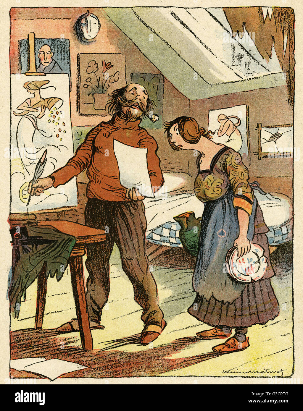 Cartoon, Artistic dignity.  A poor painter in an attic room tells his wife that he told the taxman he earned five - Stock Image
