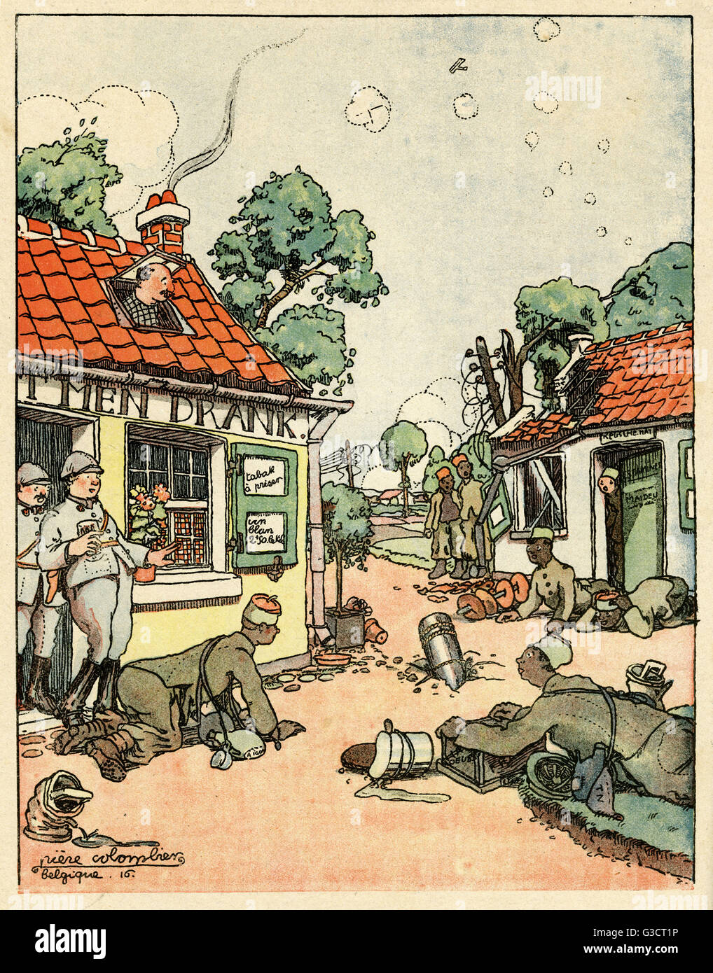 Cartoon, A failure.  Two French soldiers coming out of a cafe remark that a shell has fallen in the middle of the - Stock Image
