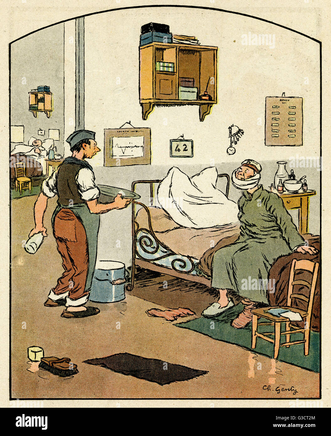 Cartoon, On the eve of repatriation.  A German patient in a French hospital asks an orderly if he will be ok with Stock Photo