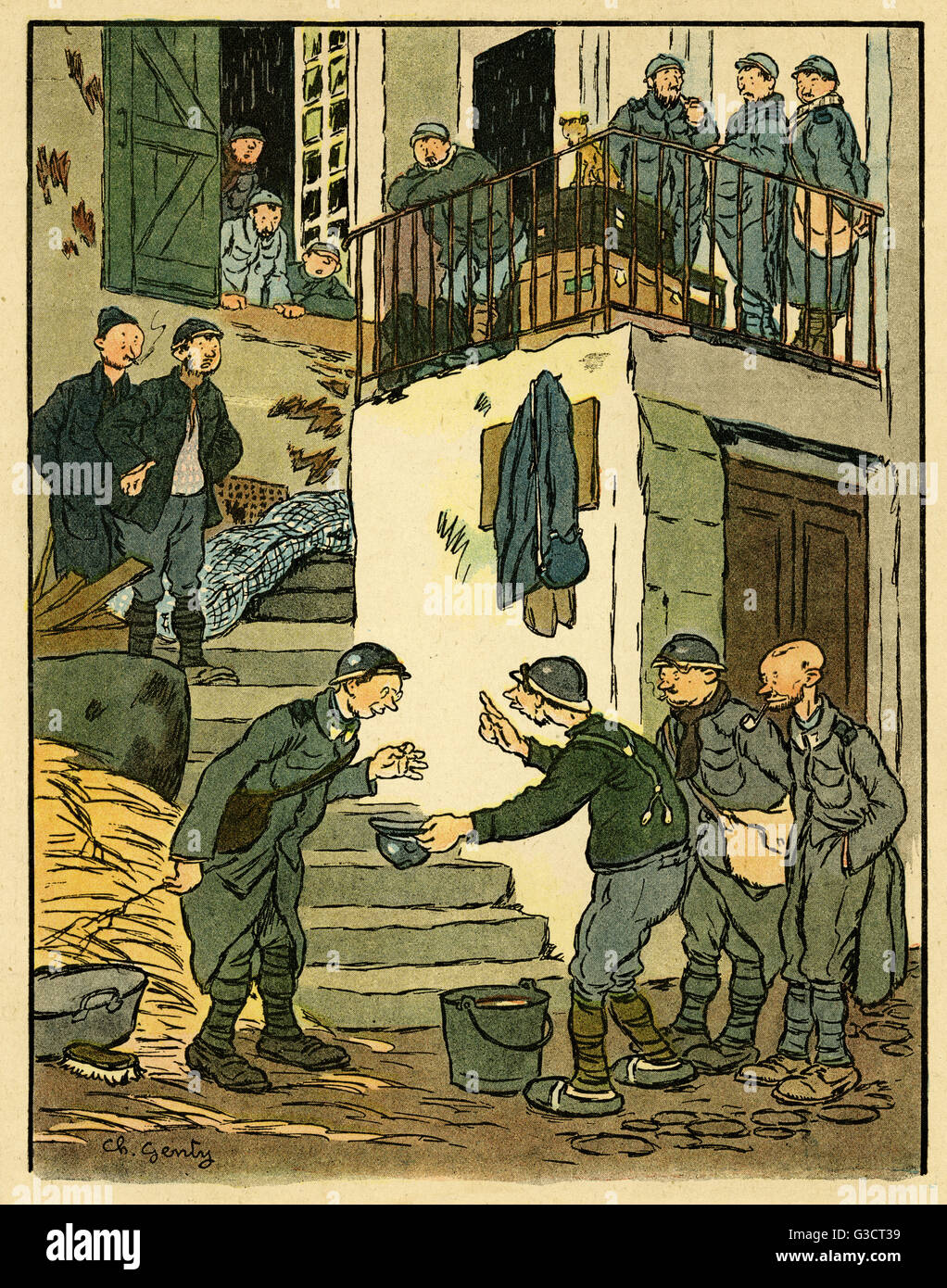 Cartoon, A sensitive man.  A group of French soldiers are sharing a bucket of Pinard (cheap wine or plonk).  Do - Stock Image