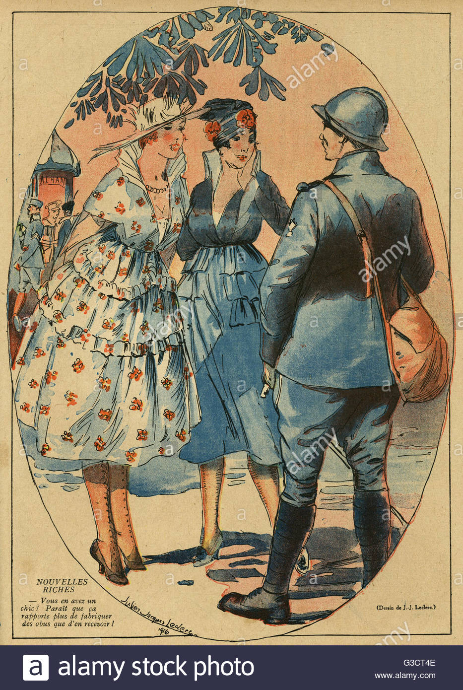 Cartoon, Nouvelles riches.  Two rich women chat with a French soldier, commenting that it's more lucrative to - Stock Image