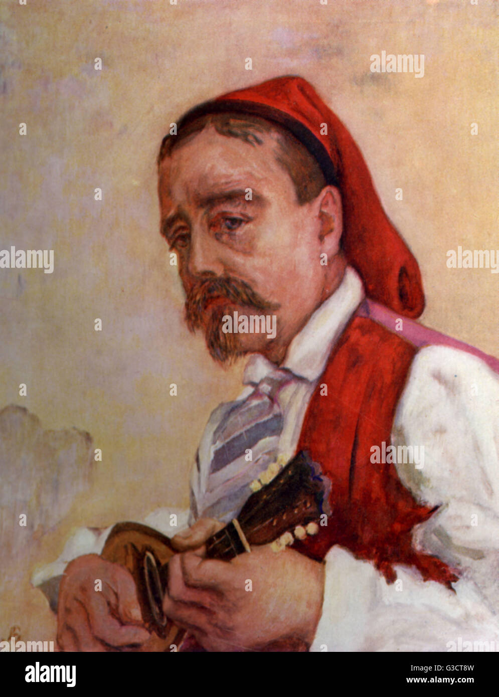 A musician contributes to the Italian folk dance Tarantella by singing and playing the mandolin.  1904 - Stock Image