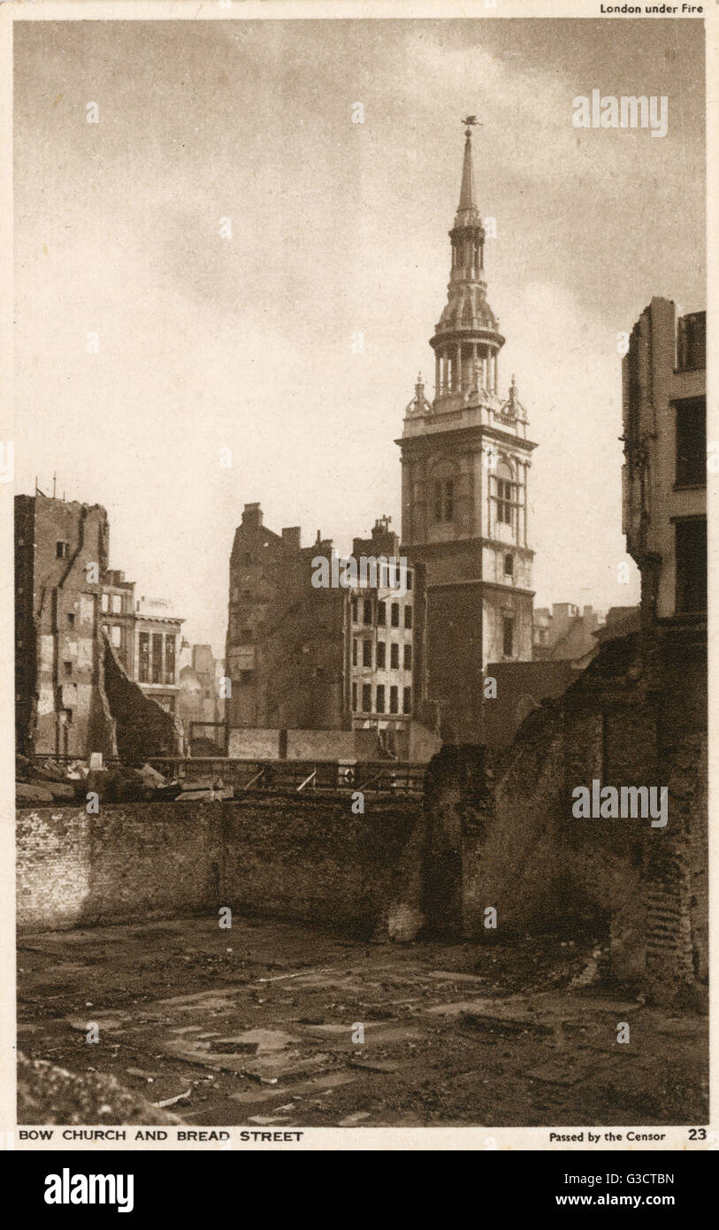 bow church and bread street london following the ww2 blitz on