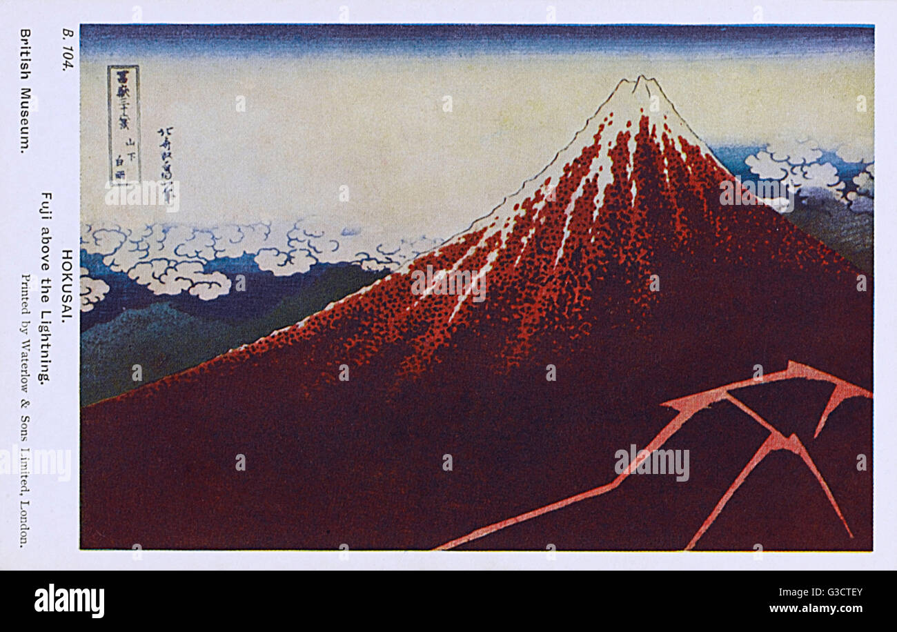 Mount Fuji, Japan - Reproduction of a woodcut by Hokusai - 'Fuji above the lightning'. from the series: - Stock Image