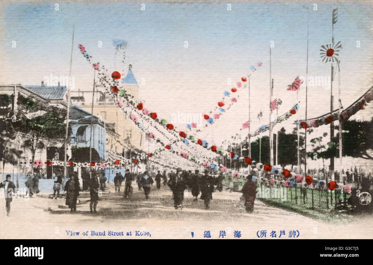 Kobe, Japan - Bund Street - paper lantern strings - Festival     Date: circa 1905 - Stock Image