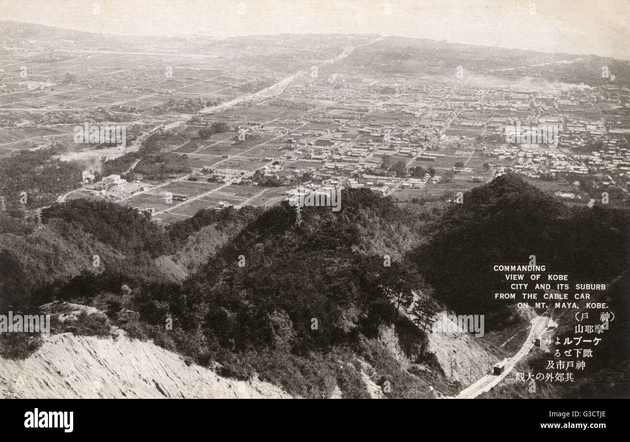 Kobe, Japan - Commanding view of the city and suburbs from the cable car on Mt Maya     Date: 1935 Stock Photo