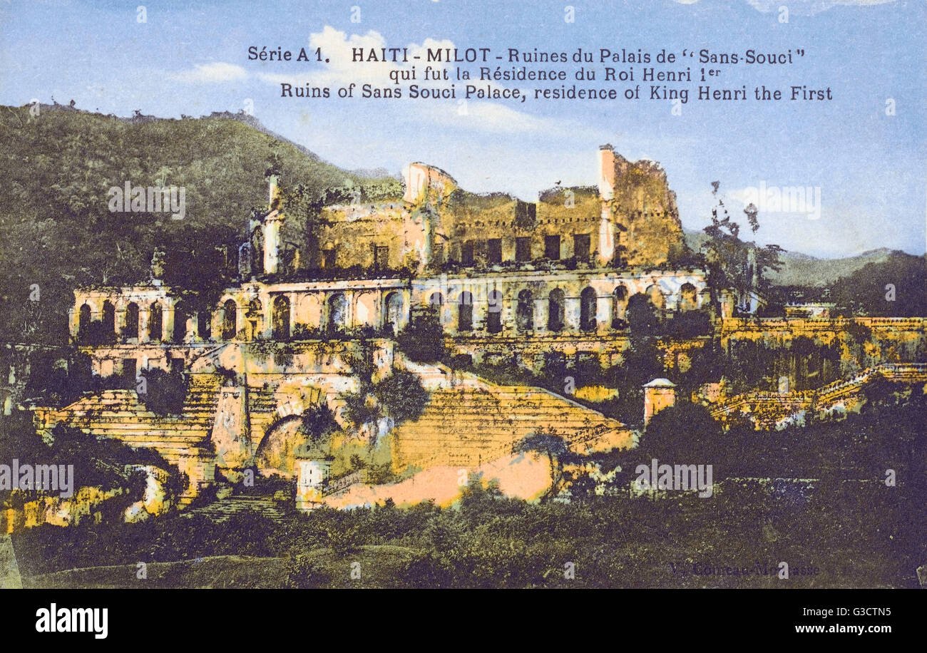 The overgrown ruins of the Sans-Souci Palace was the royal residence of King Henri I of Haiti, Queen Marie-Louise - Stock Image