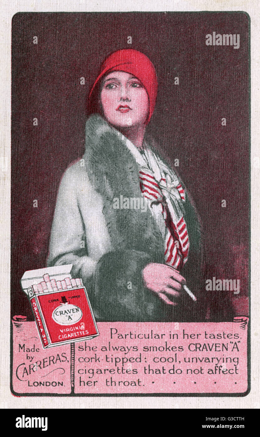Playing card reverse - advertising for Craven 'A' cigarettes, featuring a stylish woman in 1920s costume - Stock Image