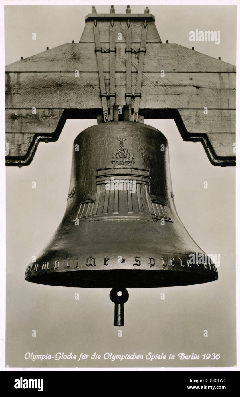 Bell cast for the Olympic Games in Berlin 1936, bearing a representation of the Brandenburg Gate     Date: 1936 - Stock Image