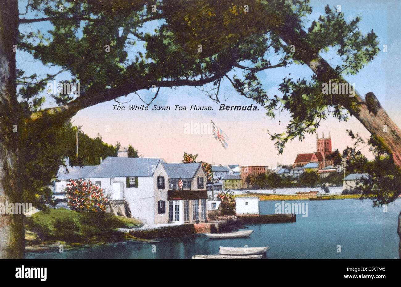 The White Swan Tea House, Hamilton, Bermuda.     Date: circa 1910s Stock Photo